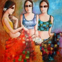 Kamal Devnath Paintings | Acrylic Painting - Three Friends by artist Kamal Devnath | ArtZolo.com