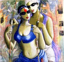 Kamal Devnath | Acrylic Painting title Saawan on Canvas | Artist Kamal Devnath Gallery | ArtZolo.com