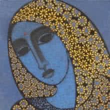 Figurative Acrylic Art Painting title 'Head II' by artist Mamta Mondkar