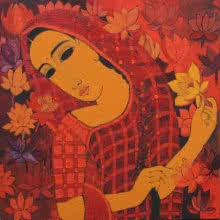 Figurative Acrylic Art Painting title 'Lady With Lotus' by artist Mamta Mondkar