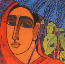 Lady With Umberella | Painting by artist Mamta Mondkar | acrylic | Canvas