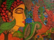 Figurative Acrylic Art Painting title Peace Of Nature 2 by artist Mamta Mondkar