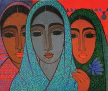 Figurative Acrylic Art Painting title 'Three Girls' by artist Mamta Mondkar
