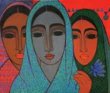 Three Girls   Painting by artist Mamta Mondkar   acrylic   Canvas
