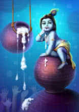 Little Krishna | Digital_art by artist Raviraj Kumbhar | Art print on Canvas