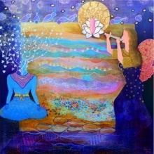 And The Earth Aspires II | Painting by artist Poonam Agarwal | mixed-media | Canvas