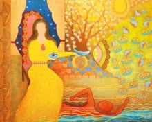 contemporary Mixed-media Art Painting title The Journey by artist Poonam Agarwal