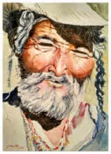 Portrait Watercolor Art Painting title Old Man by artist Soven Roy