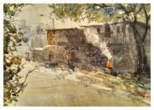 Soven Roy | Watercolor Painting title Street in Pune on Handmade paper | Artist Soven Roy Gallery | ArtZolo.com