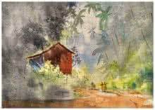 Landscape Watercolor Art Painting title 'Around the corner' by artist Soven Roy