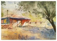 Landscape Watercolor Art Painting title 'Orange Hut' by artist Soven Roy