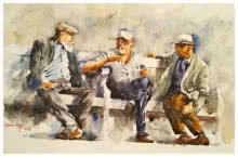 Soven Roy | Watercolor Painting title Deep discussion on Handmade paper | Artist Soven Roy Gallery | ArtZolo.com