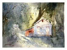 Morning Rays Through Trees | Painting by artist Soven Roy | watercolor | Paper