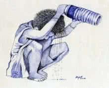 Figurative Pen Art Drawing title Cooling Off by artist Guru Rajesh