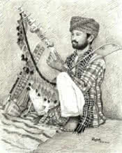 Figurative Pen Art Drawing title 'Folk Musician of Rajasthan' by artist Guru Rajesh