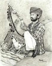 Pen Paintings | Drawing title Folk Musician of Rajasthan on Paper | Artist Guru Rajesh