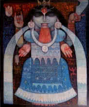 Religious Oil Art Painting title 'Goddess Kali' by artist Arun Samadder