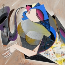 Figurative Acrylic Art Painting title 'Flight Of Imagination 2' by artist Pradip Sarkar