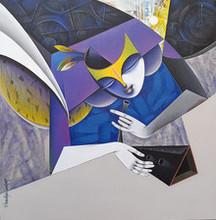 Figurative Acrylic Art Painting title Shakti 2 by artist Pradip Sarkar