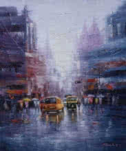 Purnendu Mandal | Oil Painting title City Life on Canvas | Artist Purnendu Mandal Gallery | ArtZolo.com