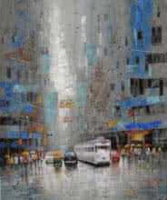 Purnendu Mandal | Acrylic Painting title Rainy Day In Kolkata on Canvas | Artist Purnendu Mandal Gallery | ArtZolo.com