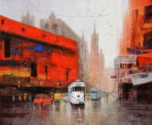 Cityscape Acrylic Art Painting title 'Rainy Day In Kolkata' by artist Purnendu Mandal