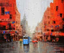 Cityscape Acrylic Art Painting title 'After Rain In Kolkata' by artist Purnendu Mandal