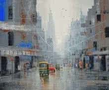 Cityscape Acrylic Art Painting title 'Life On A Rainy Day' by artist Purnendu Mandal