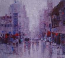 Cityscape Acrylic Art Painting title 'CityScape' by artist Purnendu Mandal