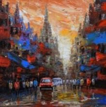 Cityscape 2 | Painting by artist Purnendu Mandal | acrylic | Canvas