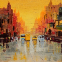 Cityscape Oil Art Painting title 'Good Morning Kolkata' by artist Purnendu Mandal