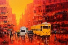 art, painting, oil, canvas, cityscape