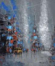 Cityscape Acrylic Art Painting title 'Grey Monsoon' by artist Purnendu Mandal