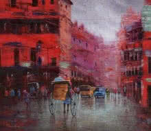 Rickshaw Puller In Kolkata 4 | Painting by artist Purnendu Mandal | oil | Canvas
