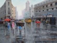 Rickshaw Puller In Kolkata 5 | Painting by artist Purnendu Mandal | acrylic | Canvas
