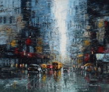 Cityscape Oil Art Painting title The City Of Joy by artist Purnendu Mandal