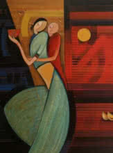 Figurative Acrylic Art Painting title 'Mother And Child 3' by artist Dattatraya Thombare