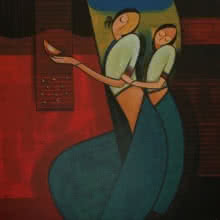 Motherhood 1 | Painting by artist Dattatraya Thombare | acrylic | Canvas