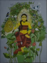 Figurative Acrylic Art Painting title Durga with nature by artist Mousumi Pal Majumdar