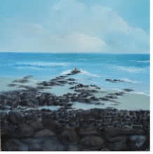 Persis Chhapkhanawalla | Oil Painting title Rocky Beach on Canvas | Artist Persis Chhapkhanawalla Gallery | ArtZolo.com