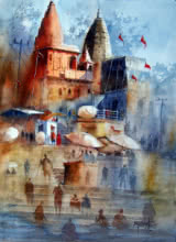 Cityscape Watercolor Art Painting title 'Beautiful Banaras' by artist Sanjay Dhawale