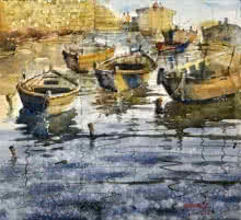 Cityscape Watercolor Art Painting title 'Boat At Banaras' by artist Sanjay Dhawale
