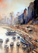 Sanjay Dhawale | Watercolor Painting title Banaras Ghat on Paper