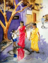 Figurative Watercolor Art Painting title 'Mind Your Step My Son' by artist Vishwajyoti Mohrhoff