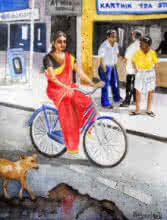Figurative Watercolor Art Painting title 'Off To Work' by artist Vishwajyoti Mohrhoff