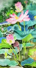 Photorealistic Watercolor Art Painting title Pink Lotus Long by artist Vishwajyoti Mohrhoff