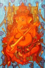 Ganesha Playing Veena | Painting by artist Manikandan Punnakkal | acrylic | Canvas