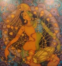 Religious Acrylic Art Painting title 'Ardhanarishvara' by artist Manikandan Punnakkal