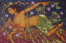 Figurative Acrylic Art Painting title 'Kurutthi' by artist Manikandan Punnakkal