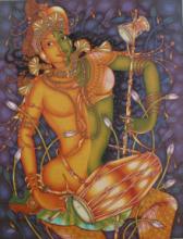 Religious Acrylic Art Painting title 'Ardhanareeswaran' by artist Manikandan Punnakkal